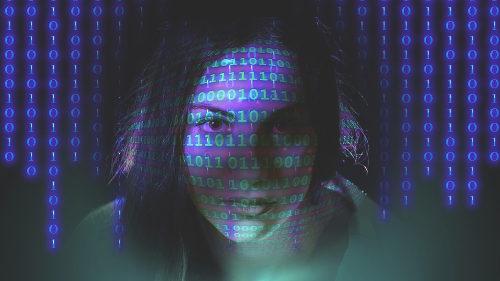 Girl with binary code
