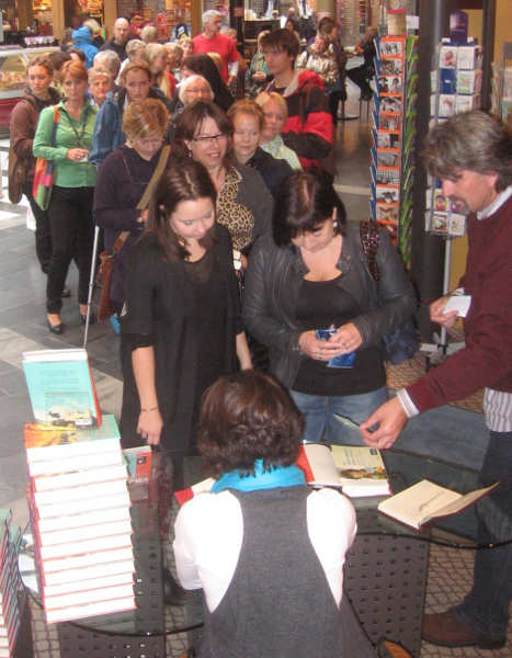 People lining up for a book signing