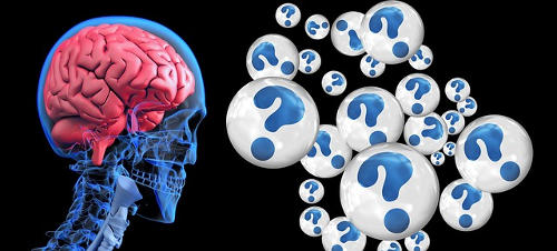 Shows a diagram of the brain and a series of question marks