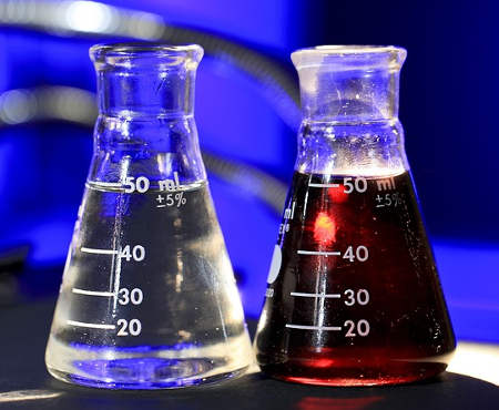 Two flasks used in chemical experiments